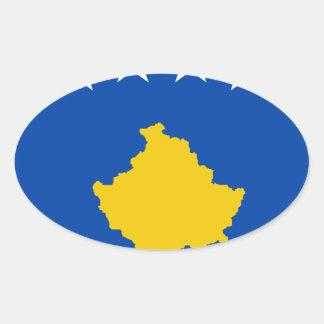 Sticker Ovale Coût bas ! Drapeau de Kosovo