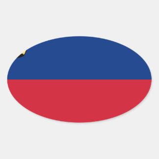 Sticker Ovale Coût bas ! Drapeau de la Liechtenstein