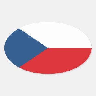 Sticker Ovale Coût bas ! Drapeau de République Tchèque