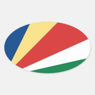 Sticker Ovale Coût bas ! Drapeau des Seychelles