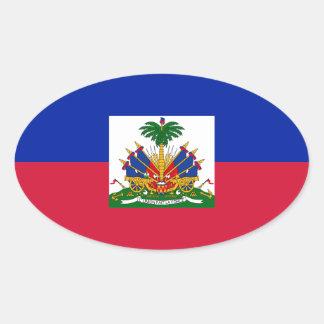 Sticker Ovale Coût bas ! Drapeau du Haïti