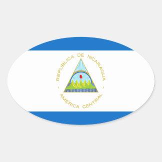 Sticker Ovale Coût bas ! Drapeau du Nicaragua