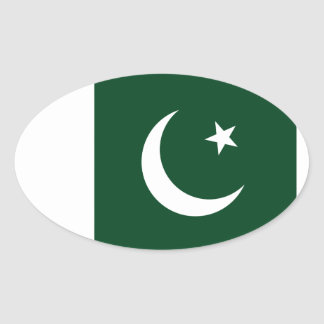 Sticker Ovale Coût bas ! Drapeau du Pakistan