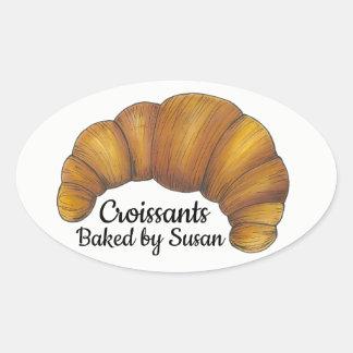 Sticker Ovale Croissants faits maison cuits au four par la