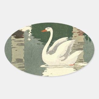 Sticker Ovale Cygne blanc réfléchi sur le lac