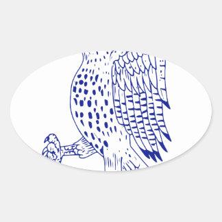 Sticker Ovale dessin de marche Pointu-shinned de faucon