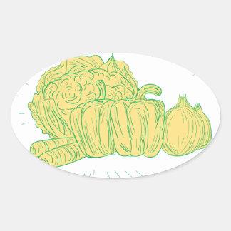 Sticker Ovale Dessin d'oignon de poivron de Brocolli