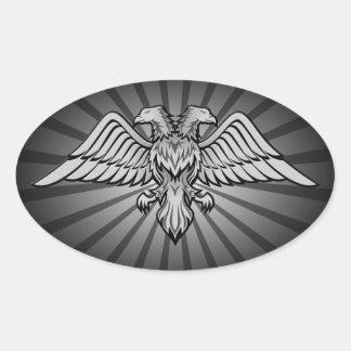 Sticker Ovale Deux ont dirigé l'aigle