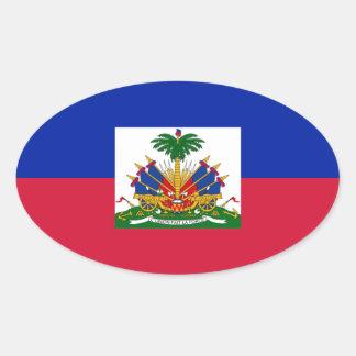 Sticker Ovale d'Haïti de Drapeau - drapeau du Haïti
