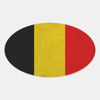 Sticker Ovale Drapeau Belgique Belge