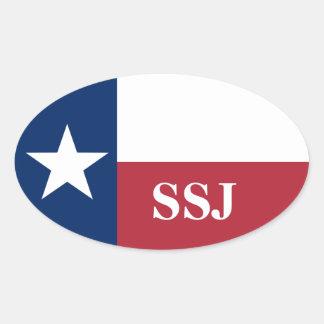 Sticker Ovale Drapeau bleu blanc rouge du Texas de monogramme