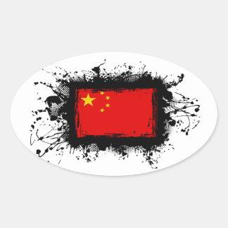 Sticker Ovale Drapeau de la Chine