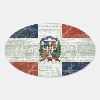 STICKER OVALE DRAPEAU DE LA RÉPUBLIQUE DOMINICAIN