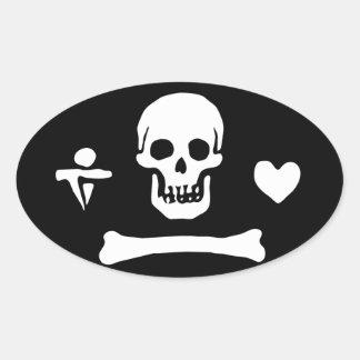 Sticker Ovale Drapeau de pirate de capot de Stede