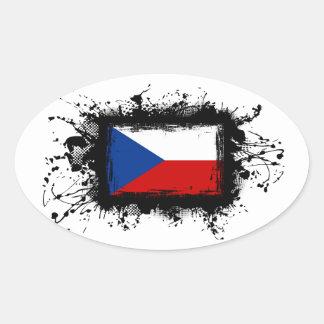 Sticker Ovale Drapeau de République Tchèque