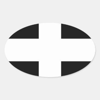 Sticker Ovale Drapeau des Cornouailles - le drapeau de Piran de