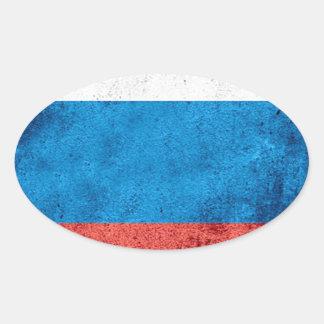 Sticker Ovale Drapeau russe