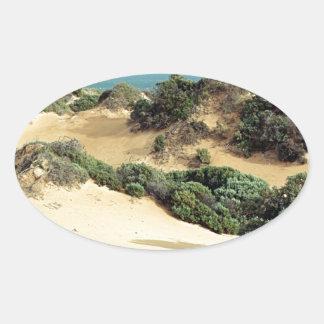 Sticker Ovale Dunes de sable balayées par le vent, Australie
