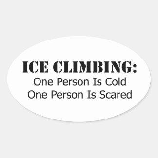 Sticker Ovale Escalade de glace - froid, effrayé