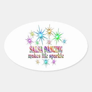 Sticker Ovale Étincelles de danse de Salsa