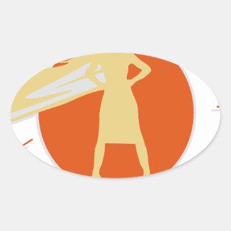 Sticker Ovale femme-superstar