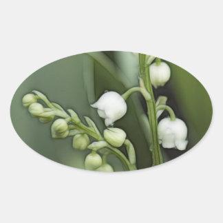Sticker Ovale Fleurs du muguet