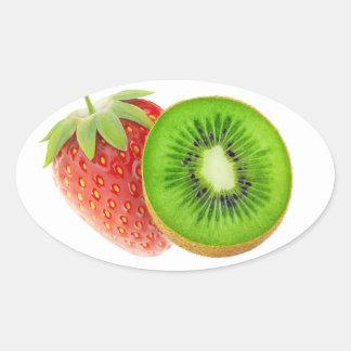Sticker Ovale Fraise et kiwi