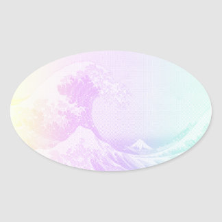 Sticker Ovale Grand Vaporwave outre d'autocollant de Kanagawa