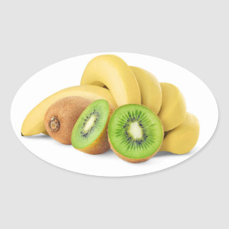 Sticker Ovale Groupe de banane et de kiwis