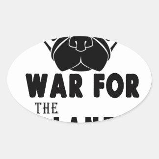 Sticker Ovale guerre pour la planète du chien frais de carlins
