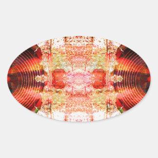 Sticker Ovale Haut-parleurs audio grunges chauds