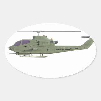 Sticker Ovale Hélicoptère d'Apache dans le profil de vue de côté