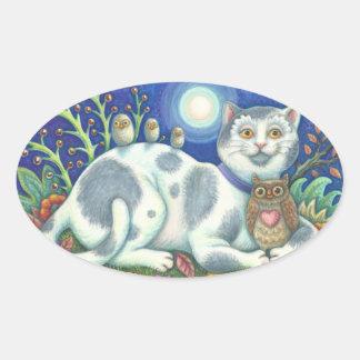 Sticker Ovale Hiboux et la feuille d'AUTOCOLLANTS de CAT d'art