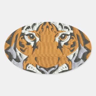 Sticker Ovale imitation de tigre de broderie