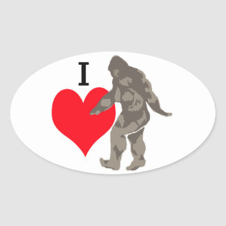 STICKER OVALE J'AIME BIGFOOT 1