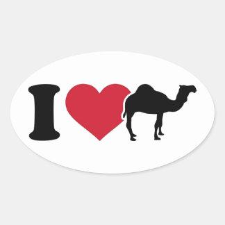 Sticker Ovale J'aime des chameaux