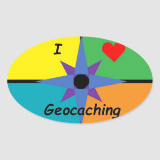 Sticker Ovale J'aime l'autocollant de Geocaching