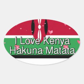 Sticker Ovale J'aime ! Le Kenya Hakuna Matata