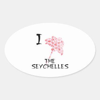 Sticker Ovale J'aime les Seychelles