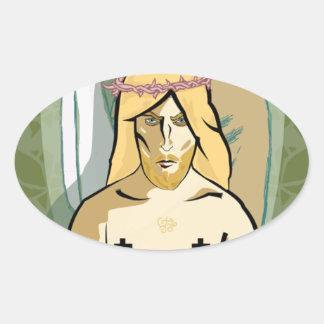 Sticker Ovale JeSus FiGhT