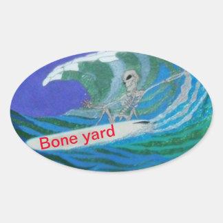 Sticker Ovale Jour d'autocollant mort de yard d'os