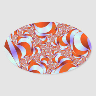 Sticker Ovale La rayure de sucrerie enracine l'autocollant ovale