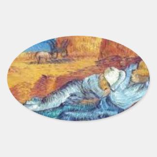 Sticker Ovale La Sieste de Vincent Van Gogh (Noon)
