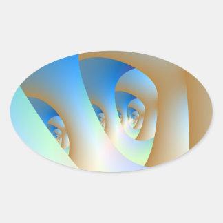 Sticker Ovale Labyrinthe dans l'autocollant ovale bleu
