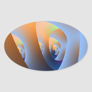 Sticker Ovale Labyrinthe dans l'autocollant ovale orange et bleu