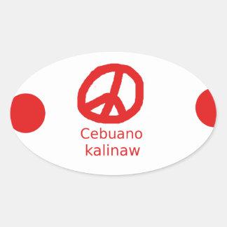 Sticker Ovale Langue de Cebuano et conception de symbole de paix
