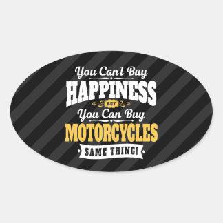 Sticker Ovale Le bonheur d'achat de pente de motocycliste peut