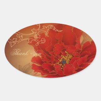 Sticker Ovale Le mariage chinois de bonheur rouge de pivoine