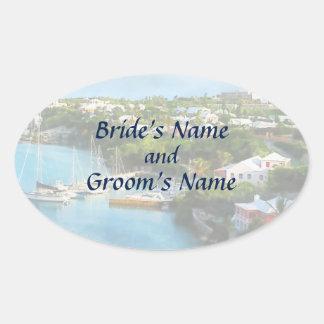 Sticker Ovale Le port de St George, économies des Bermudes la