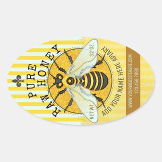 Sticker Ovale Le pot de miel de rucher marque l'abeille de nid